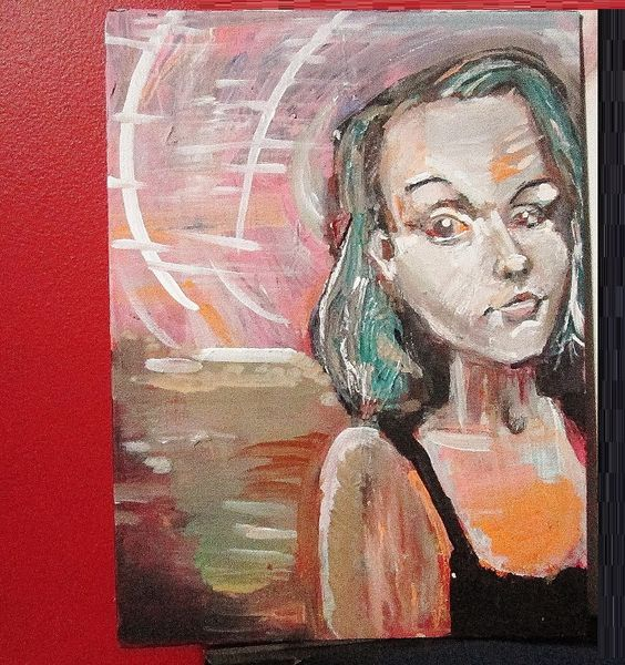 """Adrienne, a painting of a beautiful lady. mixed media on 9"""" x 12"""" canvas wrapped board."""