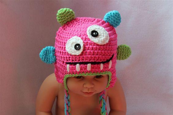 Cute Monster Tasmanian Devil Cyclops Bubu Newborn Baby Knit Hat Photograph New | eBay
