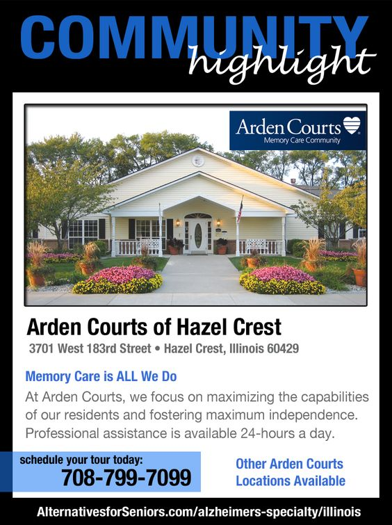 Memory Care is ALL We Do –– when nothing but the best will do, look to Arden Courts. We're invested years of research in Alzheimer's and dementia care to develop a dignified and upscale residence for those living with memory impairment.   http://www.alternativesforseniors.com/account/il/arden-courts-memory-care-community/296