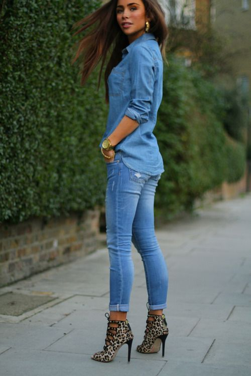 Fabulously Feminine Outfit All Denim With Leopard Fashion Style Fun Flirty Feminine