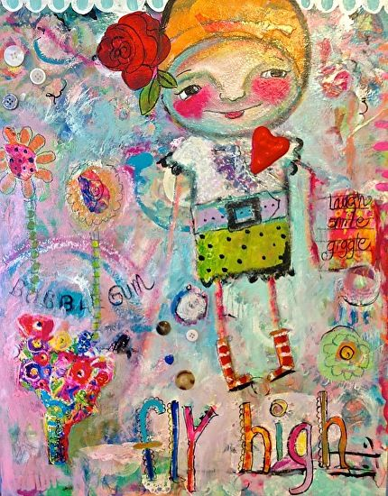 Bubble Gum by Sharon Furner collage, acrylic, ink, pencil, crayon, ~ 16 x 20
