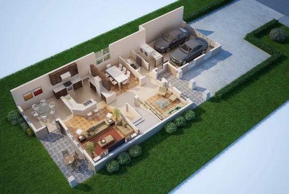 Planos de casas en 3d plans floorplans drawing house for Planos 3d