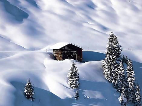 A nice little cabin in the snow