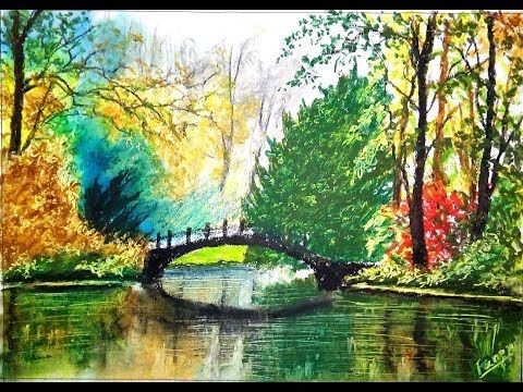 A Unique Beautiful Lake Scenery Drawing Easy Landscape Drawing With Oil Pastels Tutorial Drawin In 2020 Landscape Drawings Oil Pastel Landscape Easy Scenery Drawing