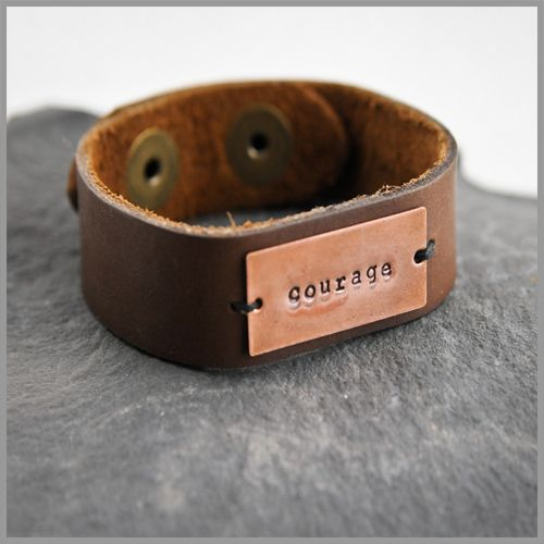 leather cuff with punched lettering on copper.  $36.     I think I need to make me some bracelets...