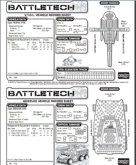 free battletech record sheets pdf