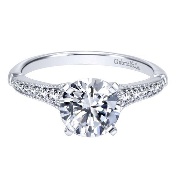 Gabriel & Co 14K White Gold 0.20 ct Diamond Straight Engagement Ring Setting ER11746R4W44JJ