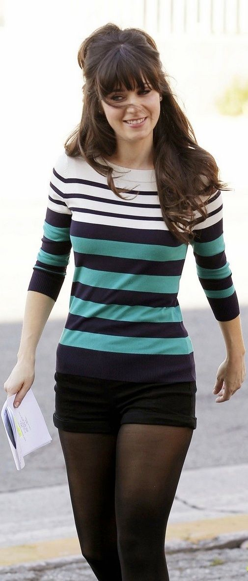 Kate Spade striped shirt and shorts. Zooey Deschanel as Jessica Day in New Girl.