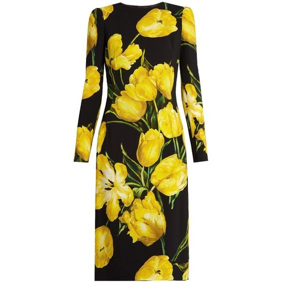 Dolce & Gabbana Tulip-print long-sleeved crepe dress (€2.190) ❤ liked on Polyvore featuring dresses, платья, black print, tulip dress, long sleeve tulip dress, print dress, longsleeve dress and crepe dress