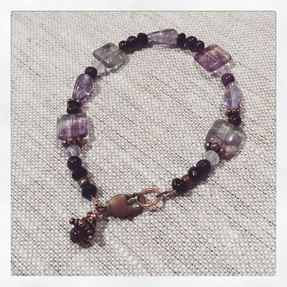 """Custom healing gemstone bracelet for my sister's friend who was diagnosed with breast cancer. Copper, fluorite, garnet, sugilite, black tourmaline & rose…"""
