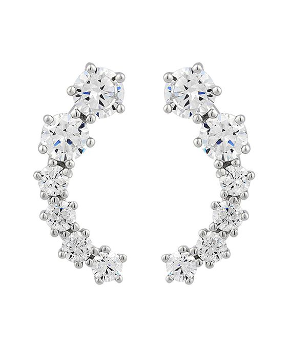 Look what I found on #zulily! Cubic Zirconia & White Gold Curve Pavé Earrings by Elegant #zulilyfinds