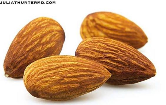 Almonds: When it comes to boosting skin's defenses against aging, inflammation, antioxidants are so important. A handful of almonds every day boosts your levels of vitamin E, one of the most important antioxidants for skin health. Wholistic info, products supplements & to purchase: www.juliathuntermd.com #skin #vitaminE #antiaging