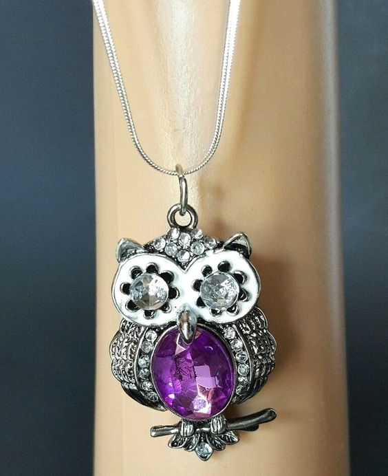 Halloween Silver Tone Owl Pendant Necklace Choker  18 inch Chain  Purple #Unbranded #Choker