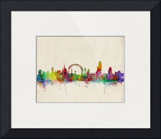"""London Skyline"" by Michael Tompsett, Castellon // Watercolor art print of the skyline of the City of London, England // Imagekind.com -- Buy stunning fine art prints, framed prints and canvas prints directly from independent working artists and photographers."