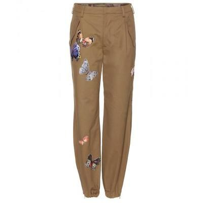 Valentino - Embroidered cotton trousers #embroideredpants #valentino #designer #covetme