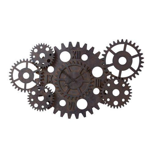Horloge indus rouages en bois effet rouille d 125 cm - Effet rouille sur bois ...
