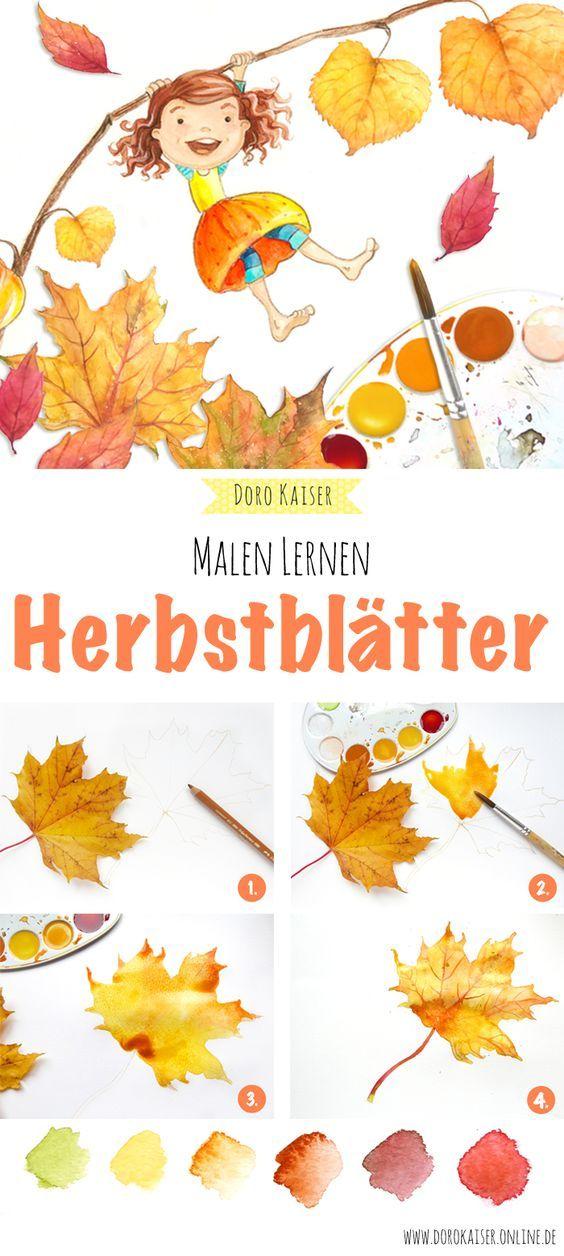 Malen Lernen Herbstblatter Mit Aquarellfarben Malen Malen