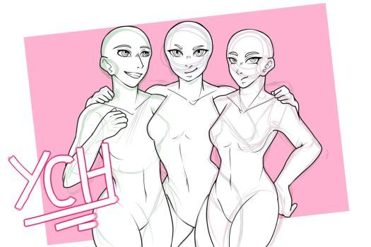 Ych Invincible Trio Open By Angelaik0 Anime Poses Reference Figure Drawing Reference Drawing Base