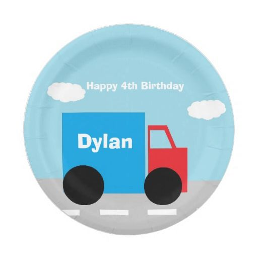 """Truck"" Personalized Paper Plates will be great for any birthday! Matching items available!"