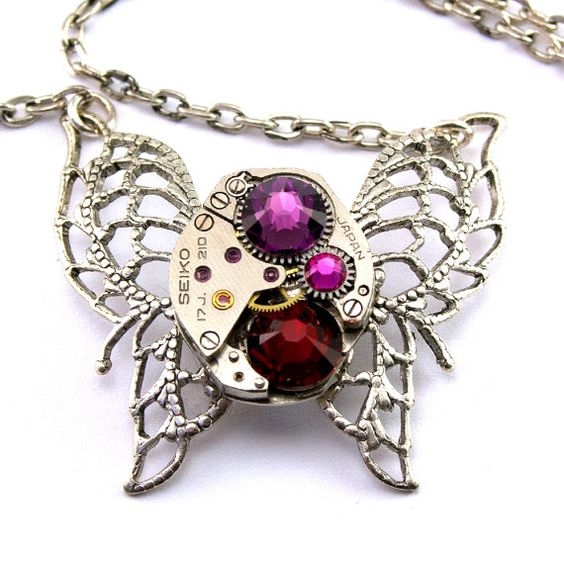 Steampunk Necklace  Beautiful Red & Purple by LondonParticulars, $55.00