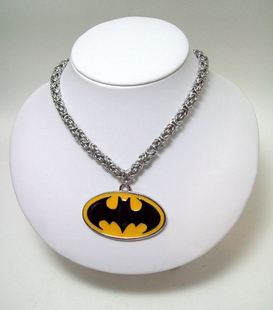 Batman necklace, Bat symbol, mens necklace, chainmaille necklace by Chainedcreativity, $30.60 USD