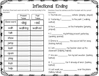 Adding Ed And Ing Worksheets