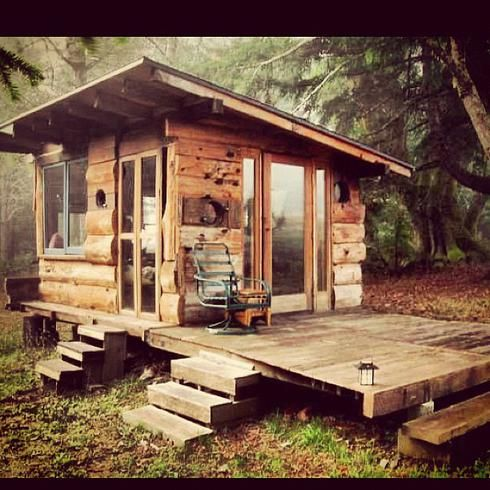 Tiny cabin tiny houses cabins cottages pinterest for Log home decks