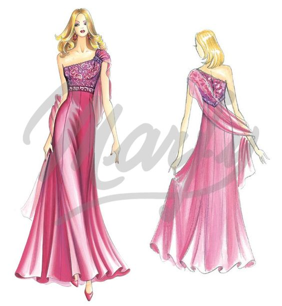 Sewing pattern 3227 - evening gown; single shoulder bodice w/detachable stole held by a pin   | www.marfy.it