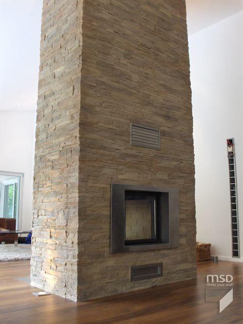 Cubierta chimenea de piedra con paneles de piedra MSD www