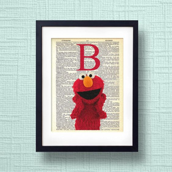 Sesame street elmo abc vintage dictionary page educational for Elmo wall mural