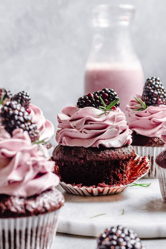Chocolate Rosemary Cupcakes with Blackberries Buttercream