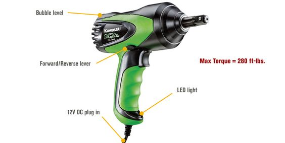 Features for FREE SHIPPING — Kawasaki 12 Volt DC Electric Roadside Impact Wrench Kit — 1/2in. Drive, Model# 841337