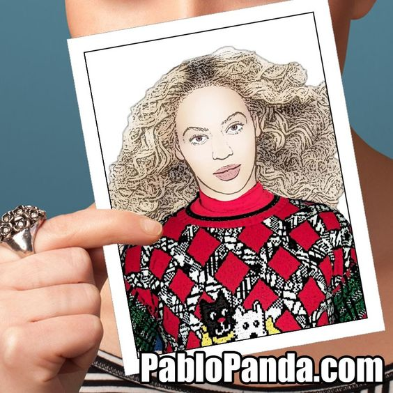 Beyonce Ugly Sweater Holiday Greeting Card by Pablo Panda – Ugly Birthday Card