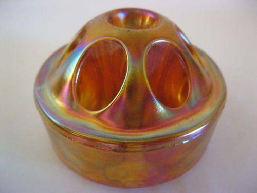 Vintage Carnival Satin Marigold Glass Flower Frog 7 Hole...Nice!