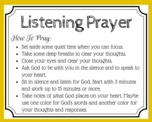 printable prayer card for listening prayer