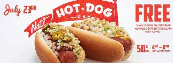 Free Hot Dog at Kangaroo Express today 7/23/14