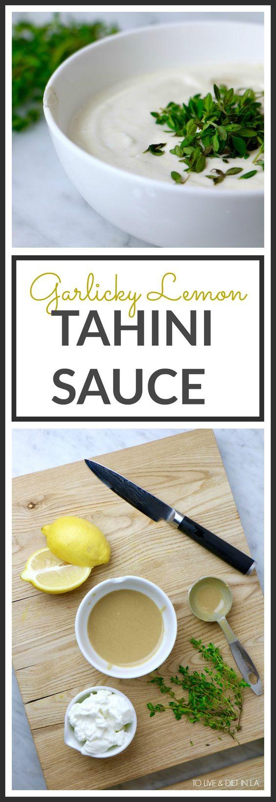 Garlicky Lemon Tahini Sauce - a rich, creamy dressing made with fresh squeezed lemon, nutty tahini, greek yogurt, minced garlic, and fresh lemon thyme.
