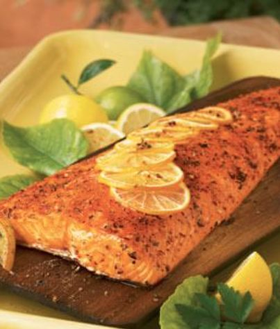 cedar plank salmon with seasoned lemon butter