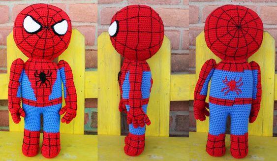 Amigurumi Spiderman Patron : Patron en espanol para hacer un amigurumi del superheroe ...