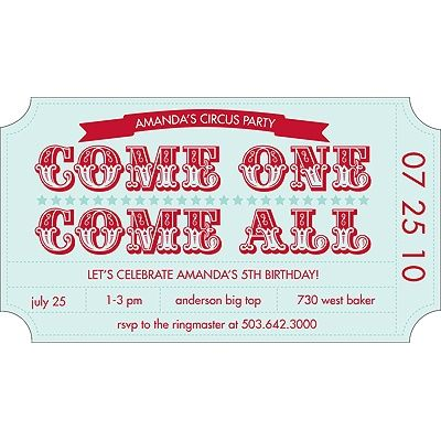 peartree greetings ticket to the show birthday party invitations 12 - circus party invitation