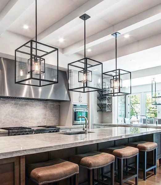 Giant Black Square Chandeliers Kitchen Island Lighting Design Idea
