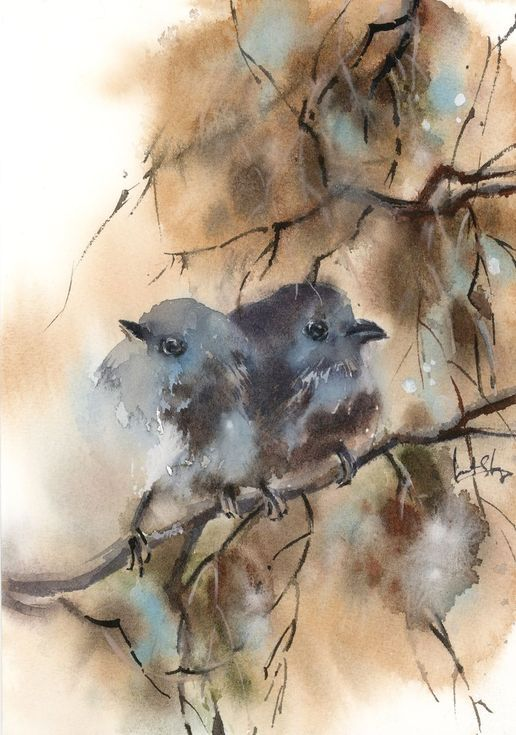 Couple Of Birds Watercolor Paintings Watercolor Painting Etsy