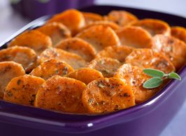Yam Gratin with Nutmeg and Sage. This simple recipe can easily be multiplied to serve a large holiday crowd.