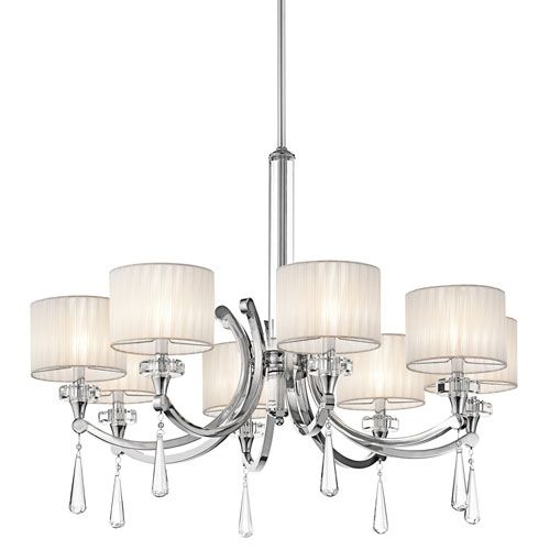 Kichler Parker Point Eight Light Chrome Chandelier W/ K9 Optical Crystal Column And Accents $891