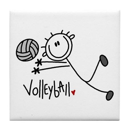 Stick Figure Volleyball Tile Coaster By Peacockcards Cafepress In 2020 Stick Figures Tile Coasters Coaster Design