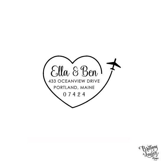 calligraphy stamp-name with heart Self-Inking Personalized Stamp Custom Return Address Stamp custom wedding address stamp curly font