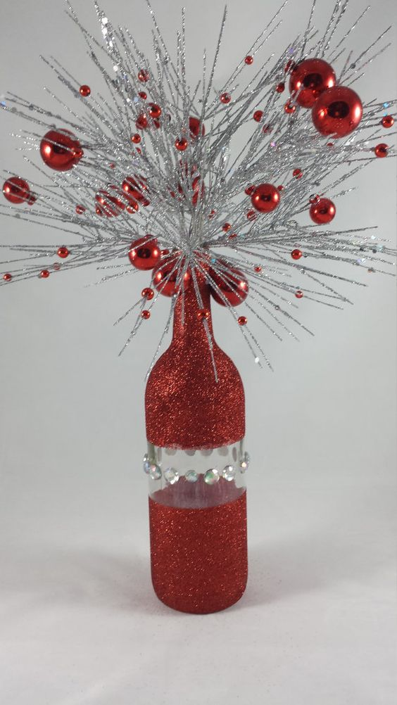 red Christmas wine bottle by NorthShoreWineGirl on Etsy