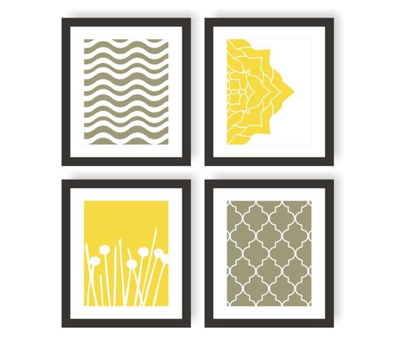 Modern Art Prints in Yellow Gray  Choose Colors by twowhiteowls