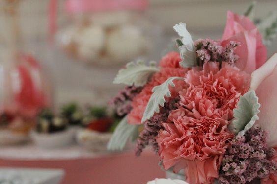 baby shower dessert and flowers