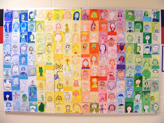 """Back to school school self portrait mural...awesome! Would be so cool to give every classroom a color to use in their drawings, then display on a """"We are Leaders"""" board"""